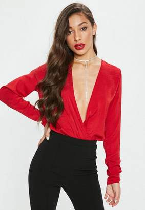 Missguided Tall Red Deep Plunge Satin Bodysuit