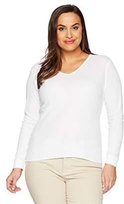 Fruit of the Loom Women's Plus Size Fit for Me Thermal Waffle V-Neck Top