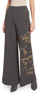 Dries Van Noten Wide-Leg Knit Pants with Metallic Embroidery