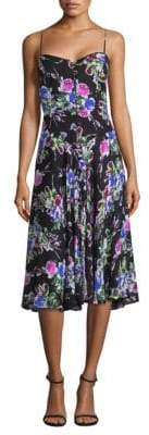 Milly Emily Silk Floral Midi Dress