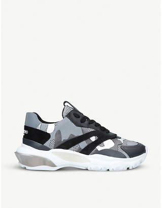 fb29defd2bf0c4 Valentino Bounce camouflage-print mesh trainers