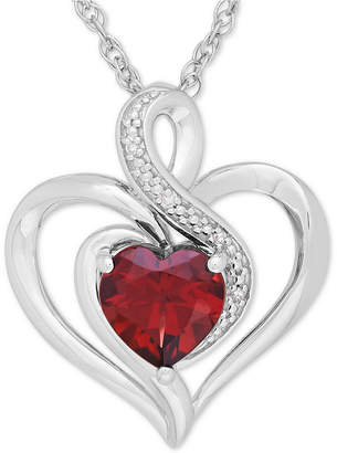 Macy's Rhodolite Garnet (1-3/8 ct. t.w.) & Diamond Accent Heart Pendant Necklace in Sterling Silver