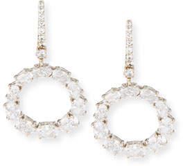 FANTASIA Open Circle CZ Crystal Drop Earrings