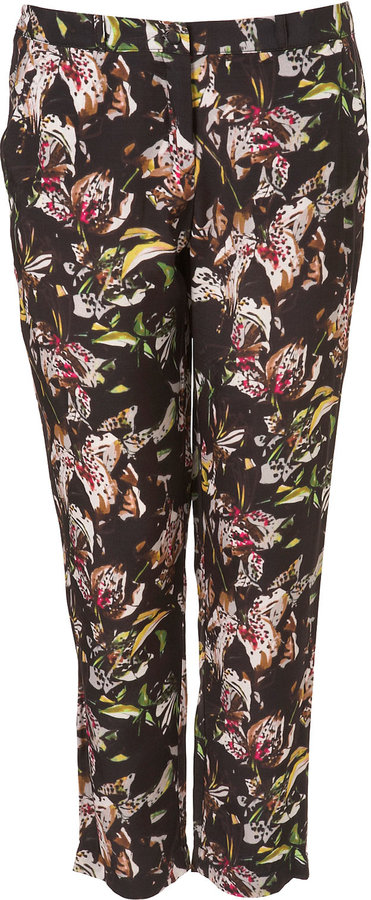 Black Lillies Print Trouser
