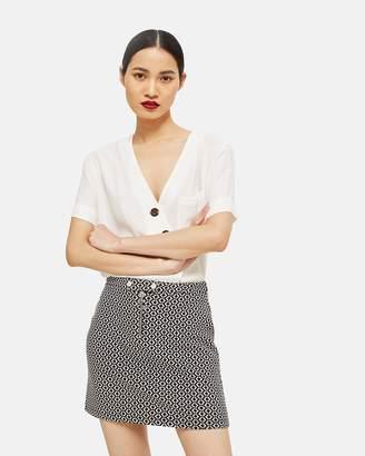 Topshop Geometric Popper Tab Mini Skirt