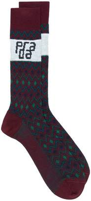 Prada mix knitted pattern socks