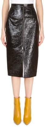 Roland Mouret Patent Foil Leather Front-Slit Pencil Skirt