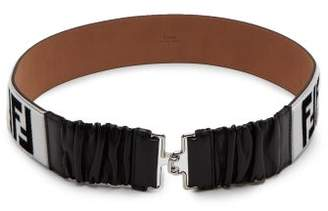 Fendi Logo Shearling And Leather Belt - Womens - Black White