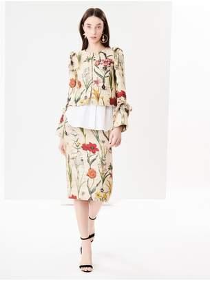 Oscar de la Renta Flower Harvest Textured Raw Silk Pencil Skirt