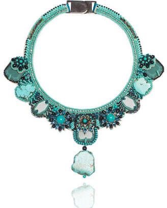 Ranjana Khan Beaded Turquoise Statement Necklace