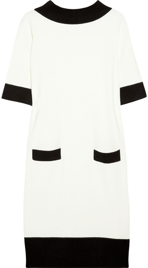 Milly Contrast-trimmed sweater dress