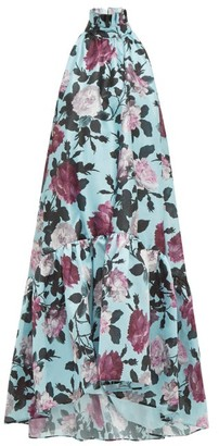 Erdem Belita High Neck Floral Print Taffeta Dress - Womens - Blue Multi