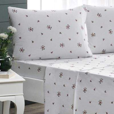 Brielle Rose Garden Jersey Knit Cotton Full Sheet Set in White