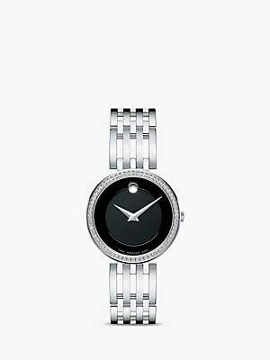 Movado 607052 Women's Esperanza Diamond Bracelet Strap Watch, Silver/Black
