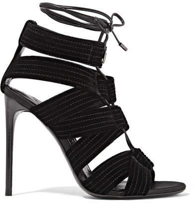 TOM FORD - Lace-up Leather-trimmed Velvet Sandals - Black