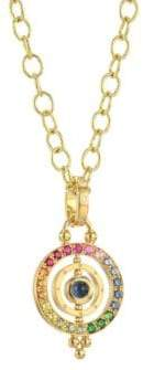 Temple St. Clair Mixed Sapphire& 18K Yellow Gold Dual Ring Pendant