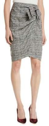 Badgley Mischka Herringbone Wrap Skirt w/ Bow