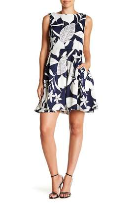 Taylor Leaf Print Fit & Flare Dress