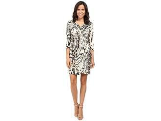 Tahari ASL 3/4 Sleeve Cheetah Faux Wap Dress Women's Dress