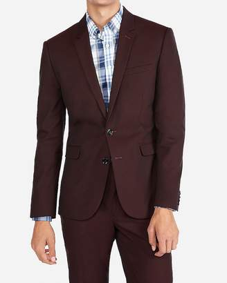 Express Extra Slim Burgundy Cotton Blend Stretch Suit Jacket