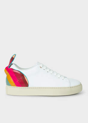 Paul Smith Women's White Leather 'Basso' Trainers With 'Swirl' Rabbit Detail