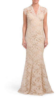 Made In USA Illusion Top Lace Gown