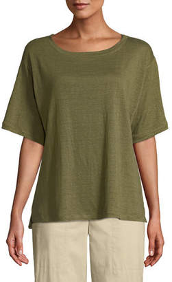 Eileen Fisher Short-Sleeve Linen Jersey Tee
