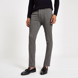 Mens Navy check super skinny smart trousers