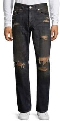 True Religion Distressed Run-Stitch Straight-Leg Jeans