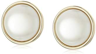 "Anne Klein Roundabout"" Gold-Tone and Round Button Clip Earrings"