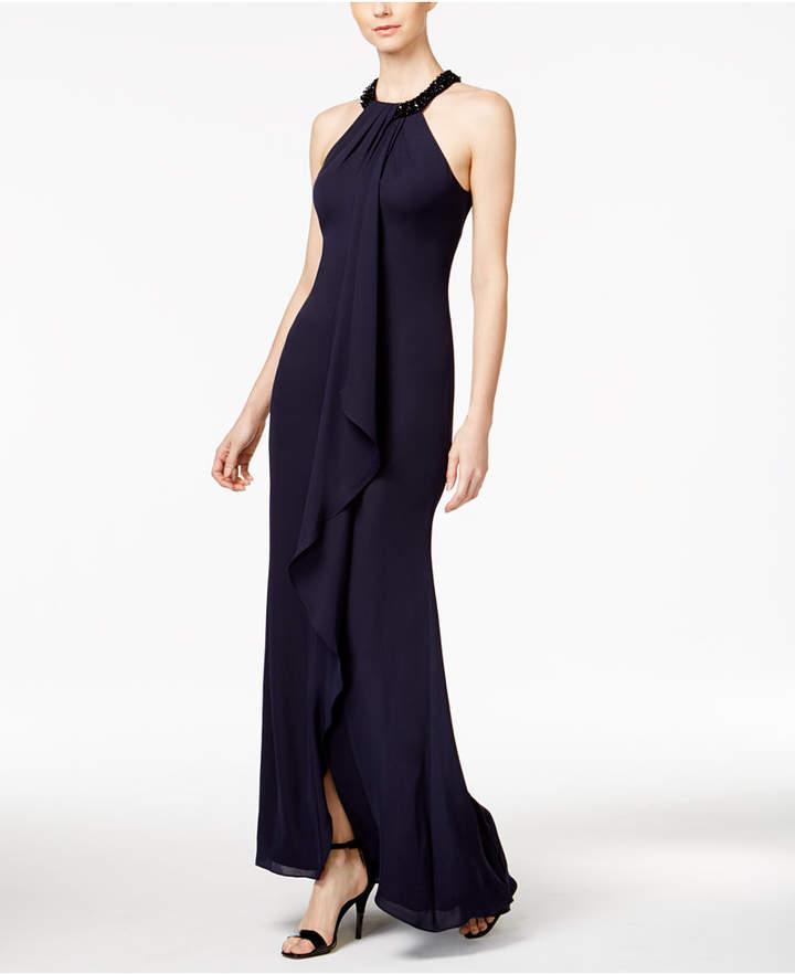 Calvin Klein Beaded-Neck Halter Gown