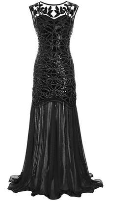 M MAYEVER 1920s Long Prom Dresses Sequins Beads Gatsby Evening Party Gown & Headband (L, )