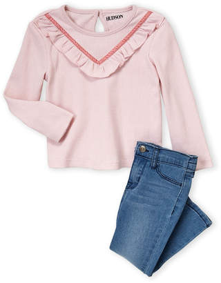 Hudson Toddler Girls) Two-Piece Henley Ruffle Long Sleeve Tee & Jeans