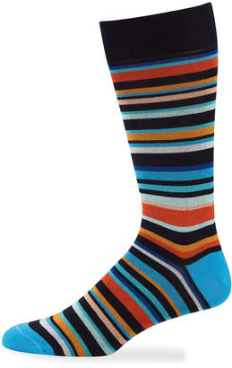 Jared Lang Men's Multi-Striped Mercerized Socks