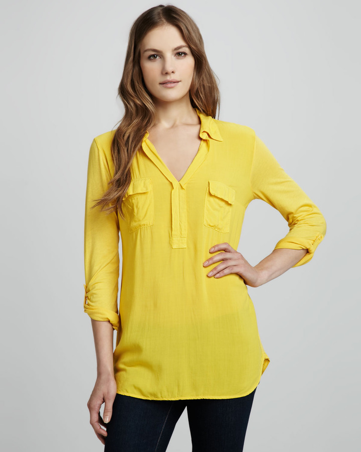 Splendid Double-Placket Top, Yellow