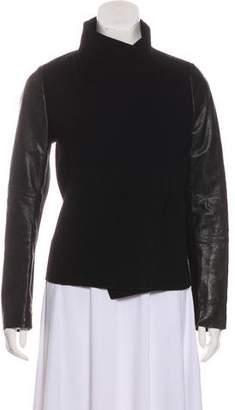 Vince Leather & Wool Zip-Up Jacket