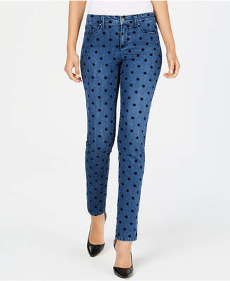 Charter Club Petite Bristol Flocked-Dot Skinny Ankle Jeans, Created for Macy's