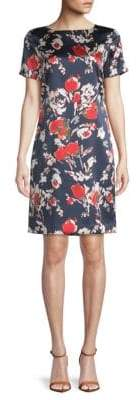 St. John Abstract Floral Stretch-Silk Shift Dress
