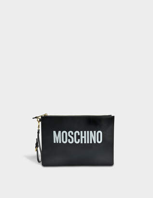 Moschino Pouch Large Bag in Black Calfskin
