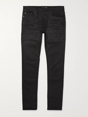 Saint Laurent Skinny-Fit 15cm Hem Coated-Denim Jeans
