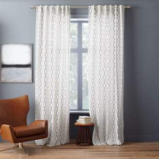 west elm Cotton Canvas Diamond Stripe Curtain - Stone White/Slate