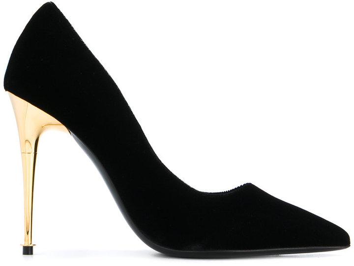 Tom Ford gold heel stiletto pumps