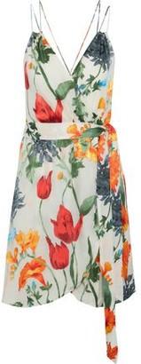 Alice + Olivia Susana Wrap-effect Floral-print Devore-chiffon Mini Dress