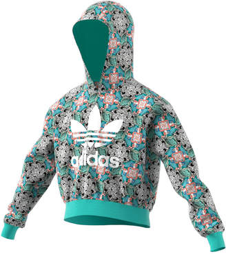 adidas Big Girls Cropped Zoo-Print Hoodie