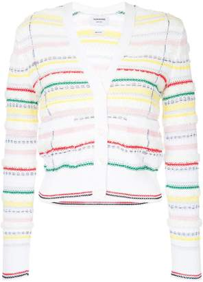 Thom Browne V-neck Cardigan With Tipping Stripe In Cotton Lurex Knit Tweed