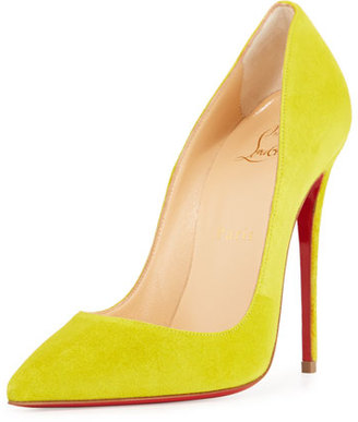 Christian Louboutin So Kate Suede 120mm Red Sole Pump, Cubiste Yellow $675 thestylecure.com