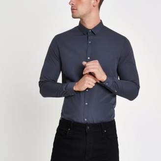 River Island Navy long sleeve slim fit shirt