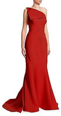 Zac Posen Women's One-Shoulder Crepe Gown