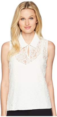 Calvin Klein Collared Lace Sleeveless Top Women's Sleeveless