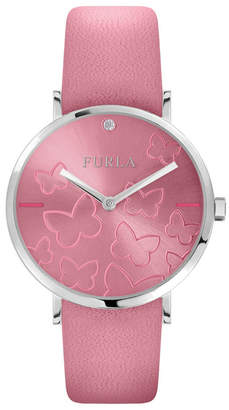 Furla Women Giada Butterfly Pink Dial Calfskin Leather Watch